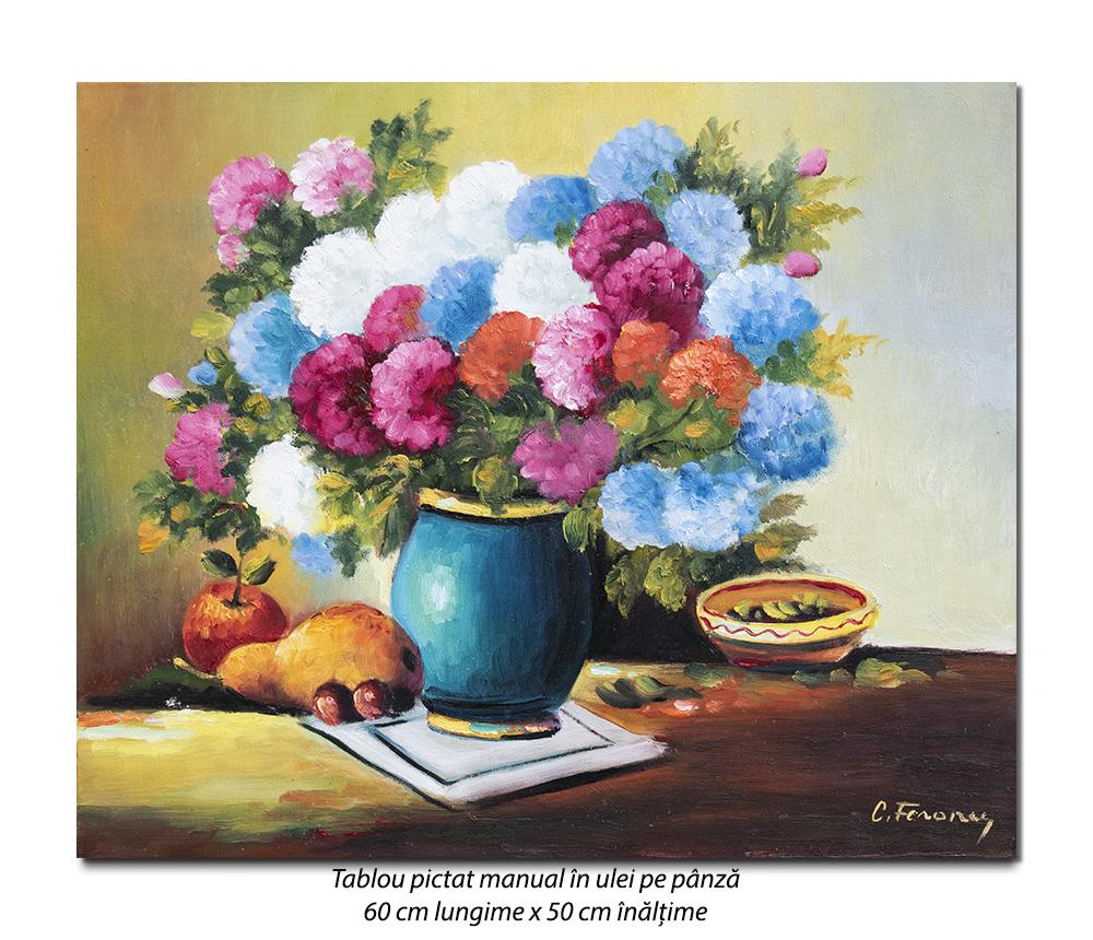 Natura statica cu flori si fructe - 60x50cm pictura ulei pe panza, Superb@
