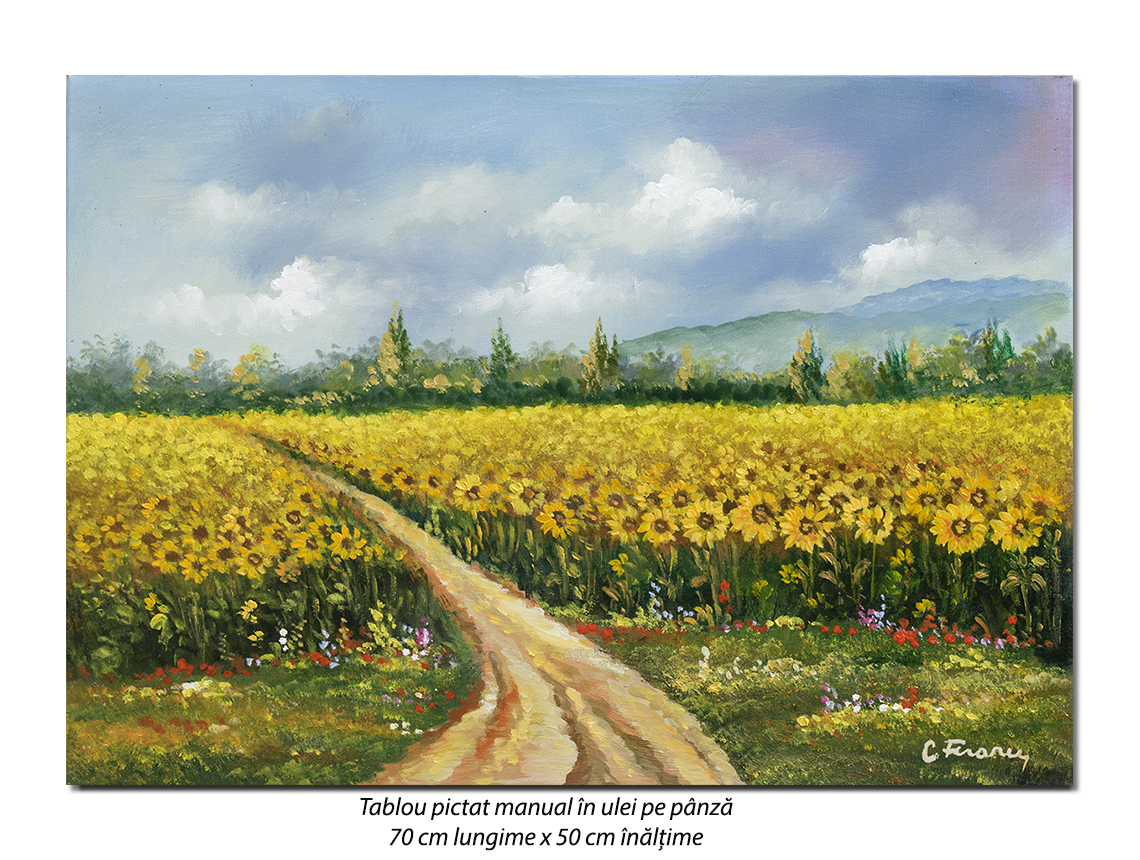 Lan de floarea soarelui - pictura 70x50cm, ulei pe panza, Superb@