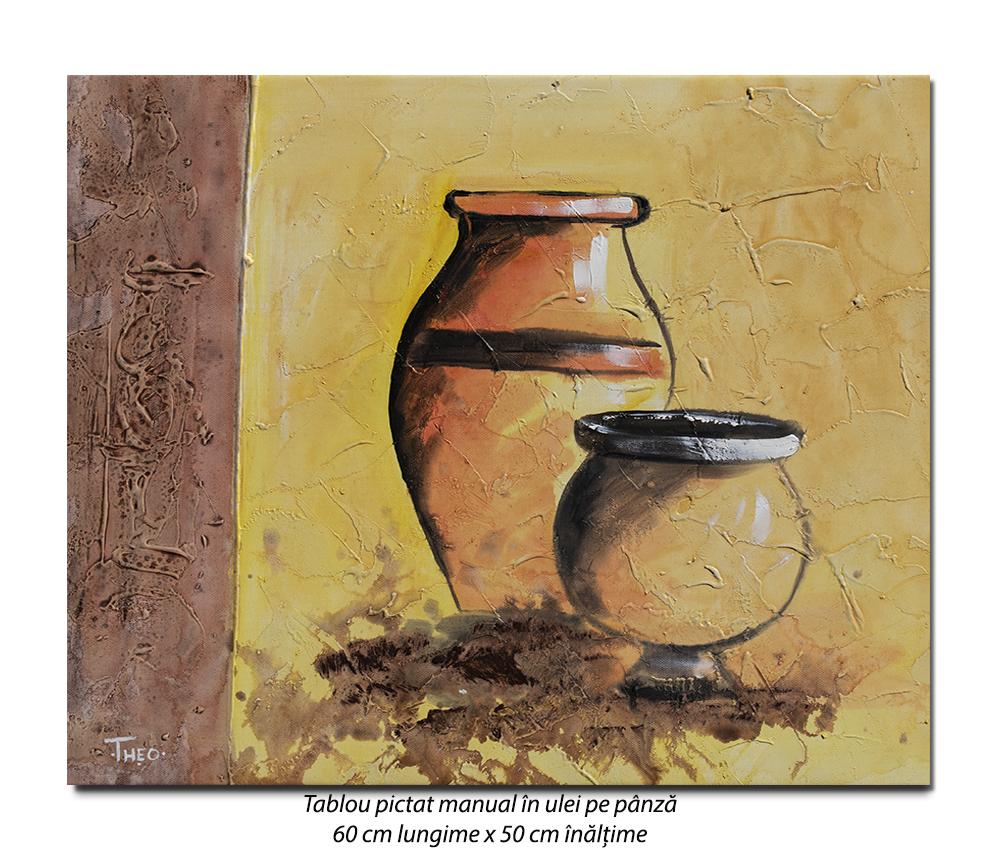 Antic (4) - tablou modern 60x50cm ulei pe panza in relief