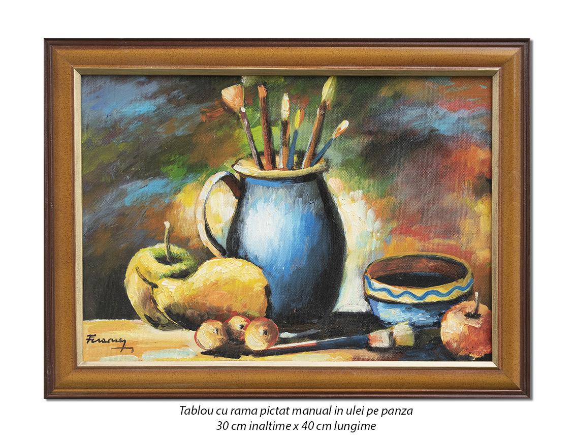 Natura statica cu pensule si fructe - inramat 40x30cm tablou ulei pe panza, Superb!