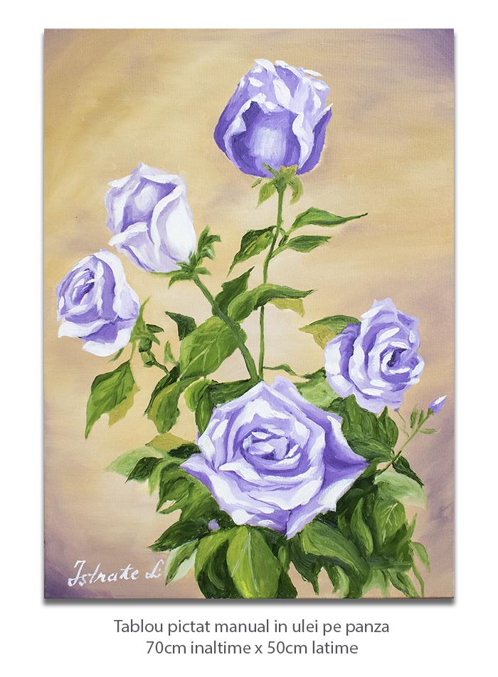 Frumosii mei trandafiri - 70x50cm pictura ulei pe panza, Magnific!