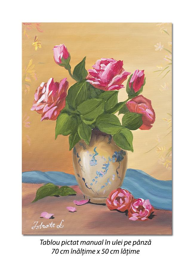 Vaza cu trandafiri - 70x50cm pictura ulei pe panza, Superb!