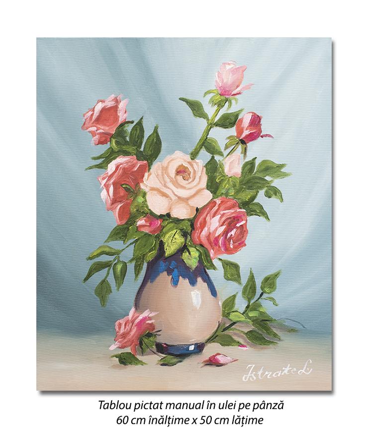 Aranjament cu trandafiri - 60x50cm pictura ulei pe panza, Superb