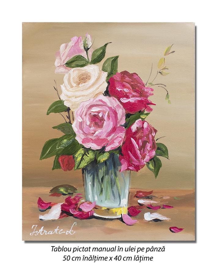 Aranjament cu trandafiri - 50x40cm tablou ulei pe panza, Superb!
