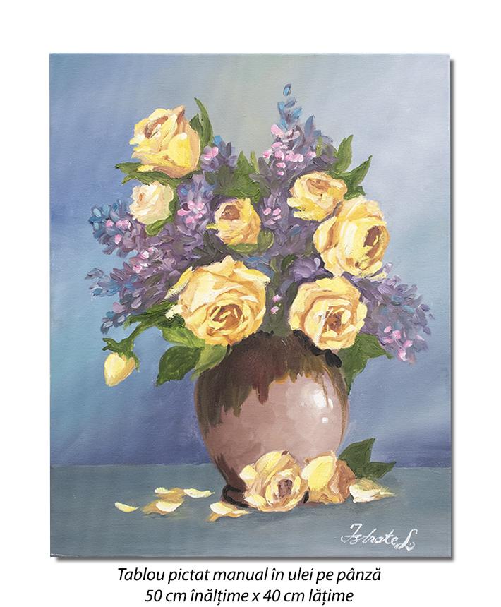 Ulcica cu trandafiri galbeni - 50x40cm ulei pe panza, Superb!