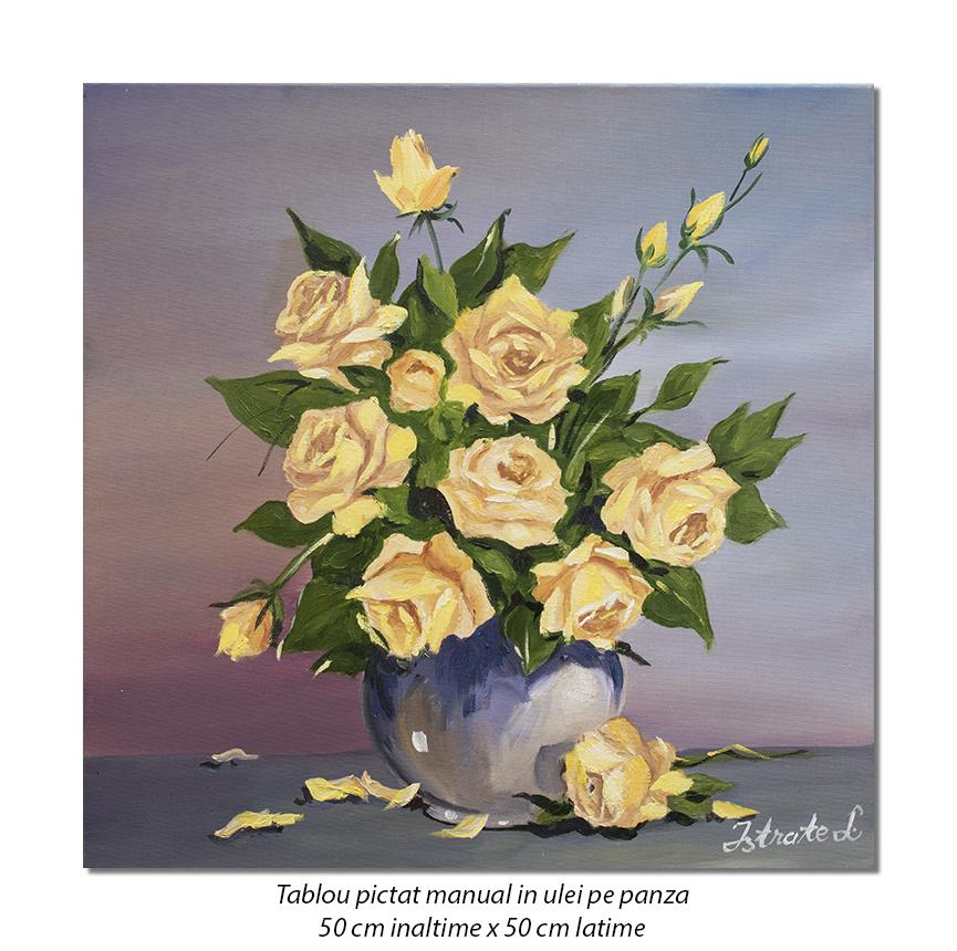 Ulcica cu trandafiri galbeni - 50x50cm pictura ulei pe panza, Superb!