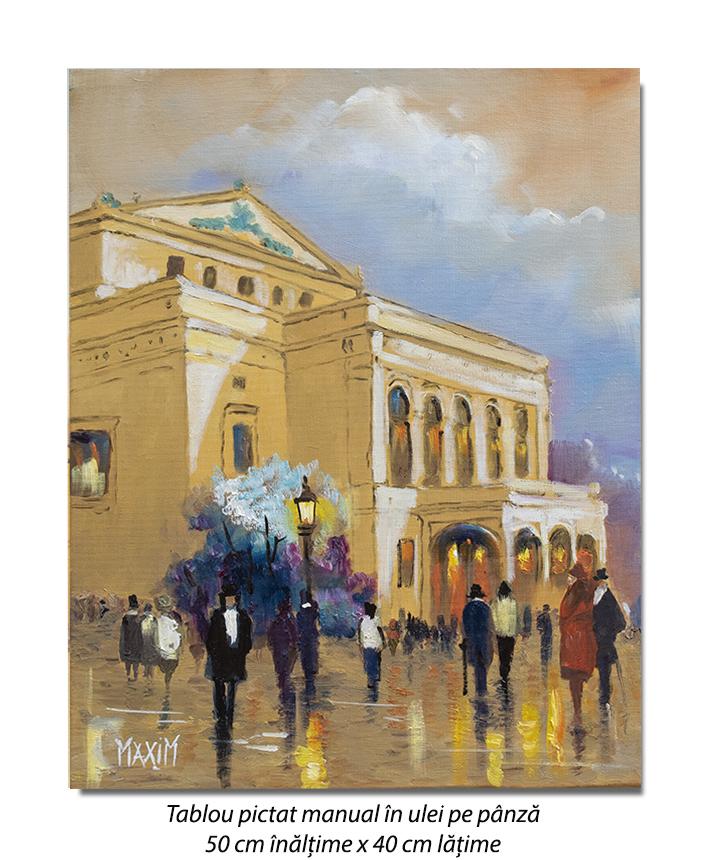 Scena citadina, Bucurestiul interbelic - 50x40cm pictura ulei pe panza, Magistral!