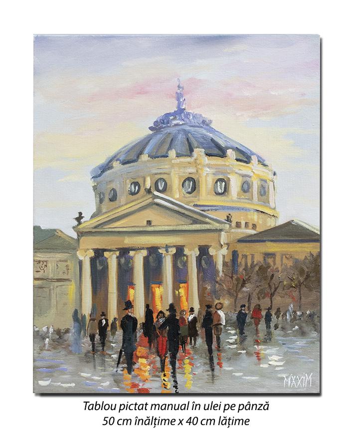 La Ateneu - 50x40cm pictura ulei pe panza, Magistral!