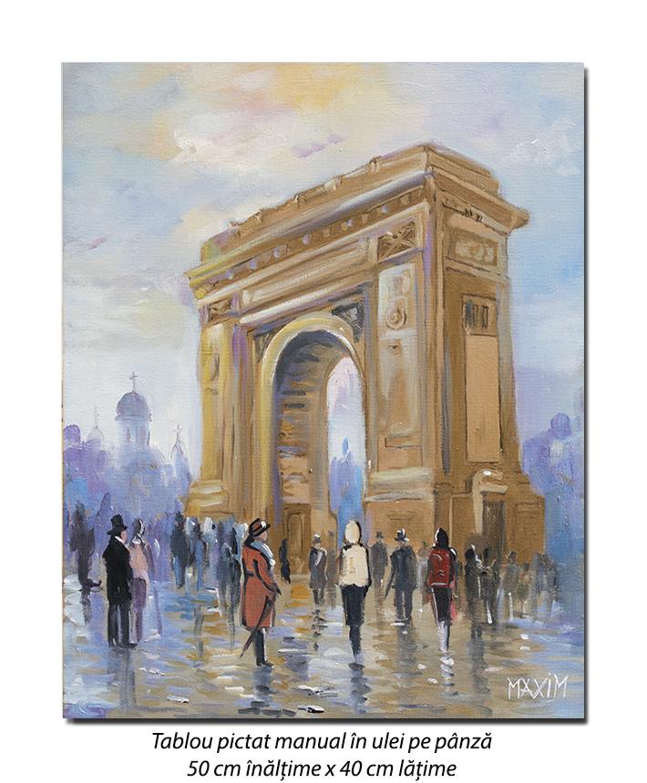 La Arcul de Triumf - 50x40cm pictura ulei pe panza, Magistral!