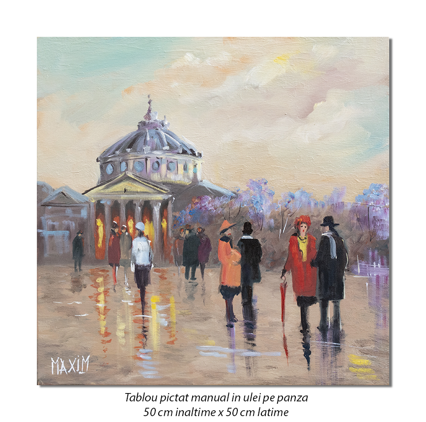 La Ateneu pe inserat - 50x50cm pictura ulei pe panza, Magistral!