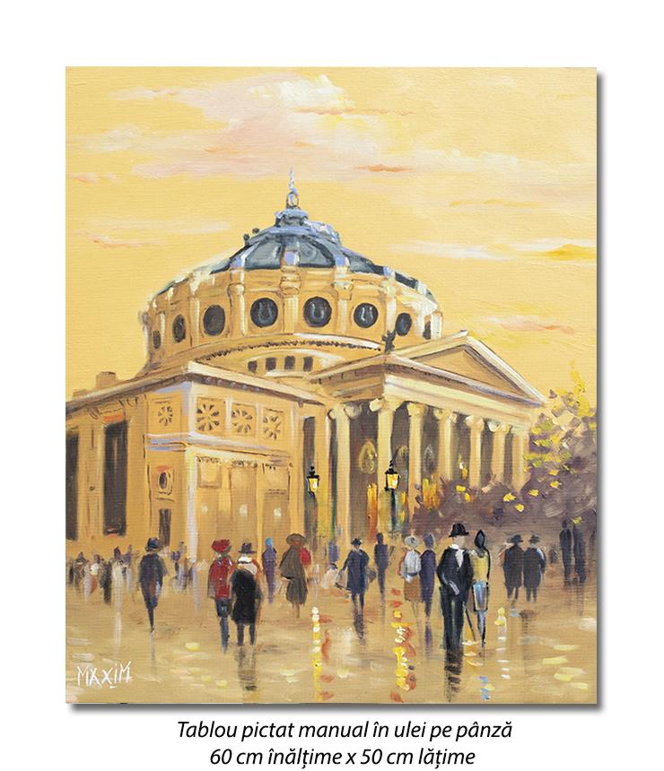La Ateneu - 60x50cm tablou ulei pe panza, Magistral!