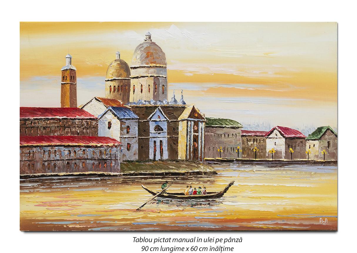 Peisaj venetian (5), stilizat - 90x60cm ulei pe panza in cutit efect 3D, Superb!