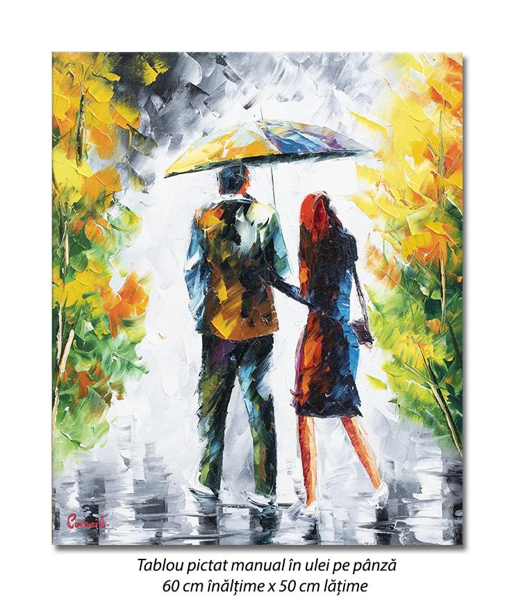 Cu iubita/iubitul prin ploaie (1), stilizat - 60x50cm ulei in curtit efect 3D, Superb!