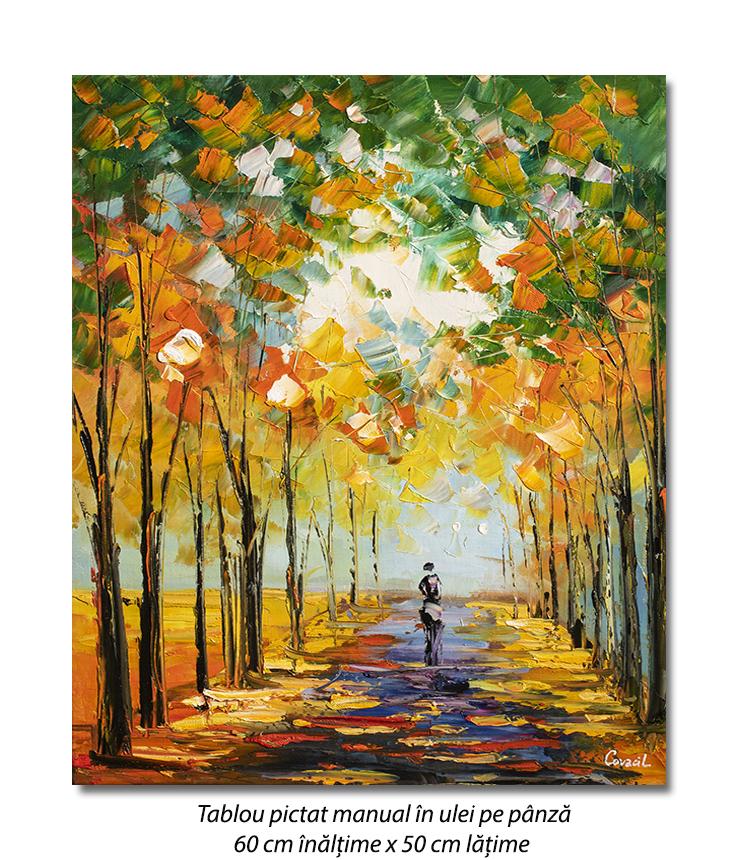 Prin parc.... pictura ulei in cutit, panza in, 60x50cm, Superba!