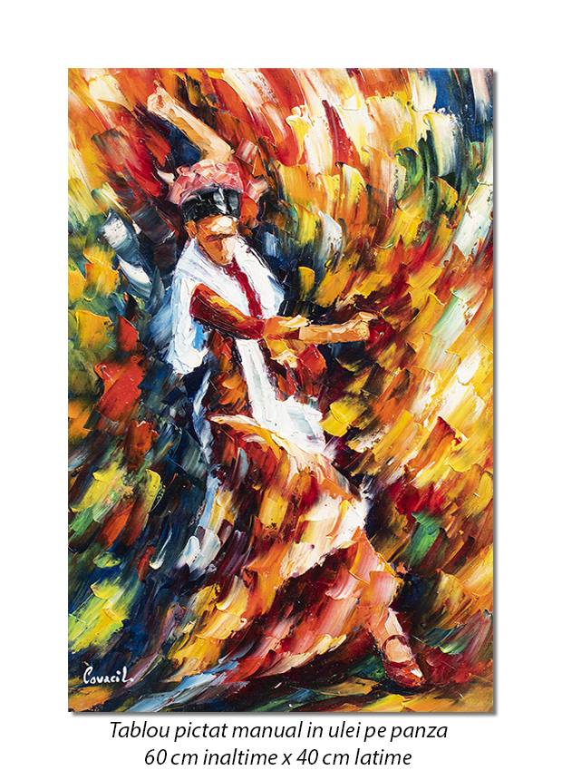 Tablouri hol, living - Flamenco (1), stilizat - 60x40cm ulei in cutit efect 3D, Magnific!