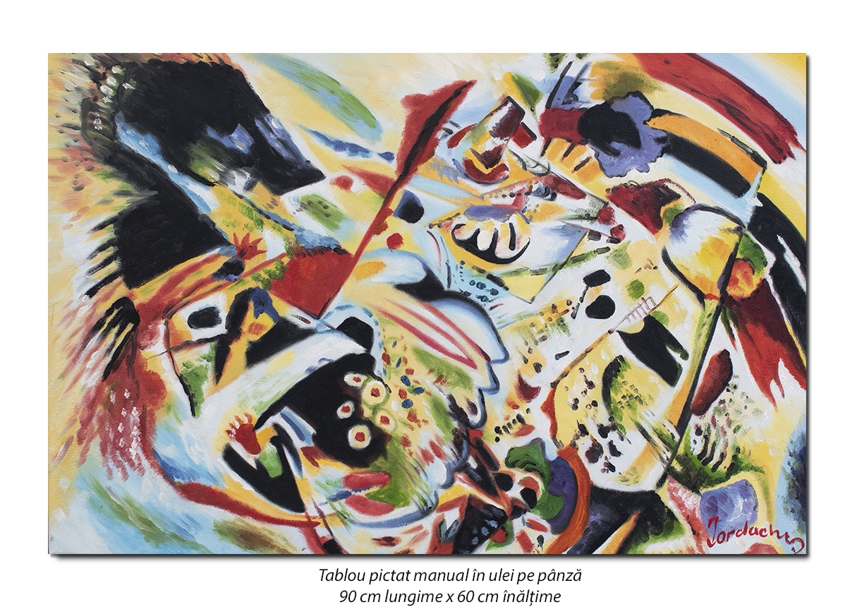 Tablou abstract 90x60cm - ulei pe panza, reproducere Wassily Kandinsky (1)
