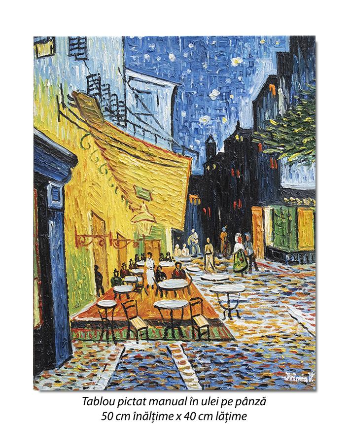 The Cafe Terrace - 50x40cm ulei pe panza, repro Vincent van Gogh, Magistral! (2)