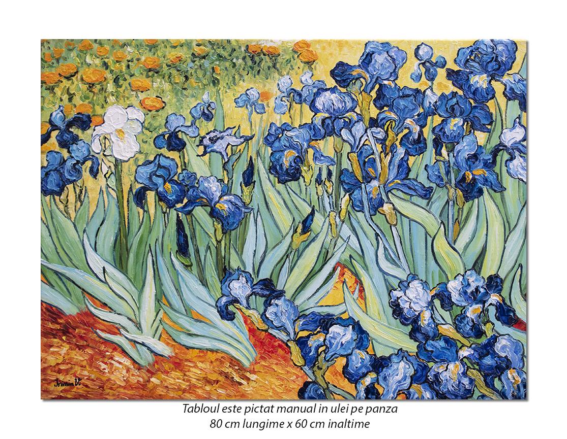 Irisi la Saint-Remy - 80x60cm, ulei pe panza de in, Repro van Gogh, Magnific! (2)