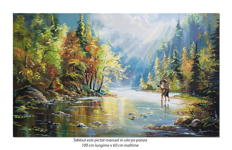 Tablou peisaj feeric cu pescari - 100x60cm pictura in ulei pe panza, Magistral!