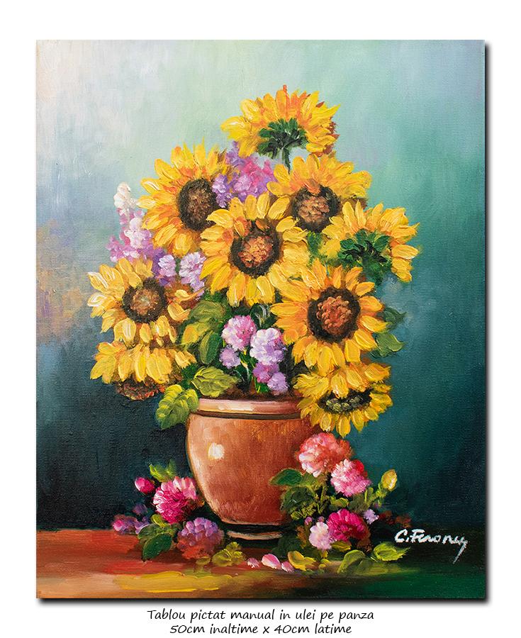 Ulcica cu floarea soarelui si bujori - 50x40cm ulei pe panza, Superb@