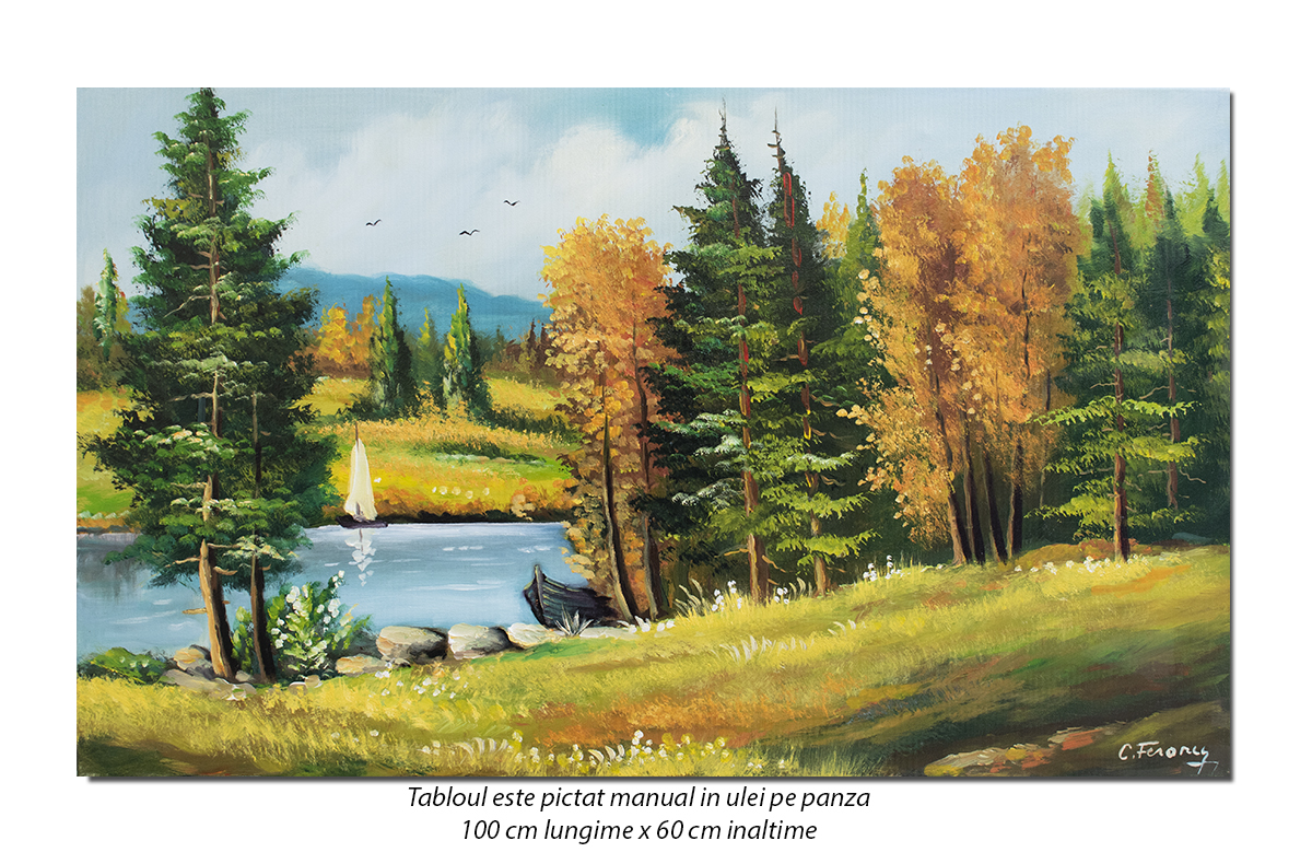 Tablou living peisaj din natura - O zi minunata - 100x60cm ulei pe panza, Superb!