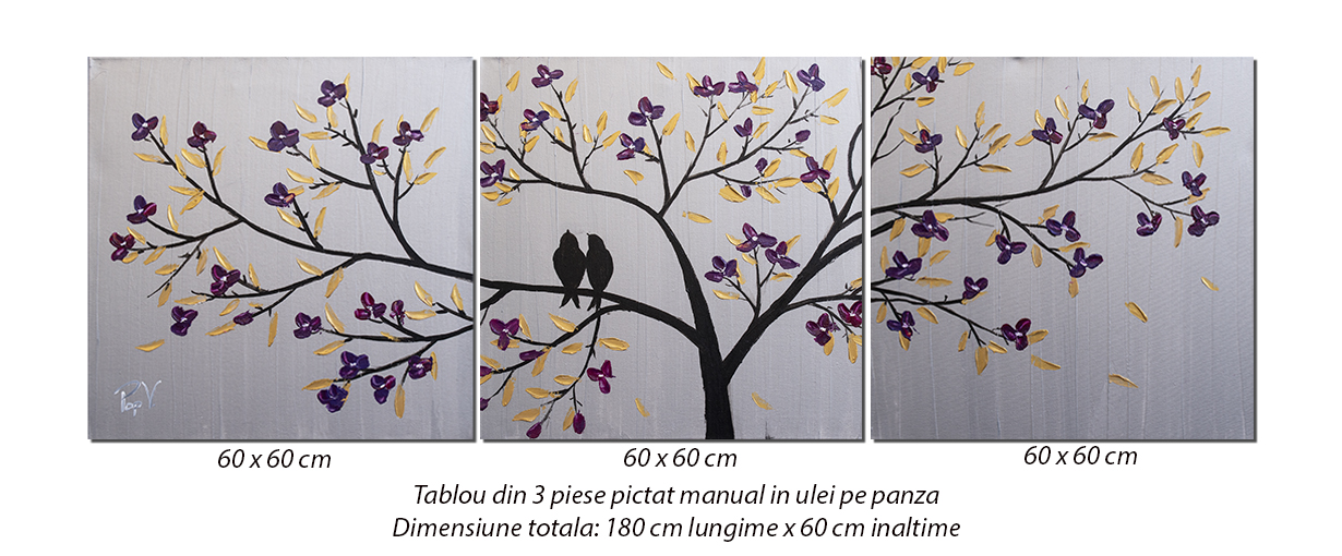 Tablou 3 piese living, dormitor - TRIL - 180x60cm ulei panza in, Magnific!
