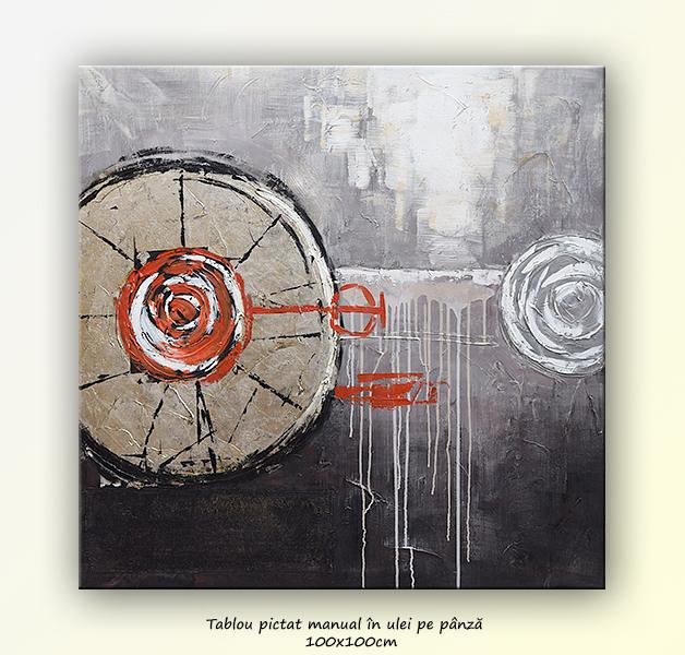 Pictura abstracta (4), ulei pe panza in cutit, 100x100cm
