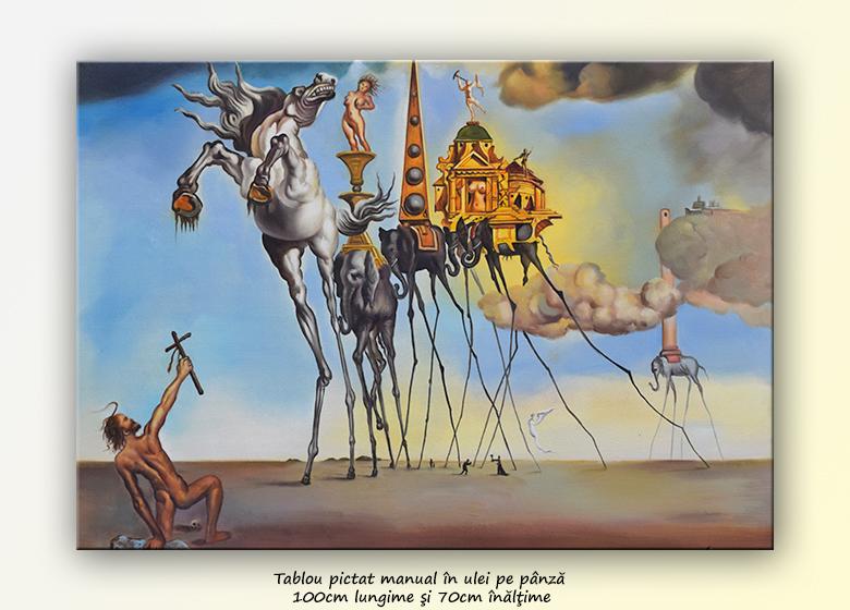 Ispitirea Sfantului Anton, repro Salvador Dali, pictura ulei pe panza 100x70cm