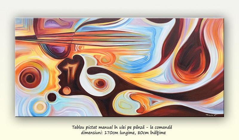 Tablou abstract GIGANT, pictat la comanda speciala 170x80cm