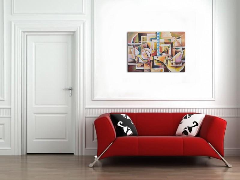 Muzica pura - tablou cubism sintetic, ulei pe panza 100x70cm. Poza 64708