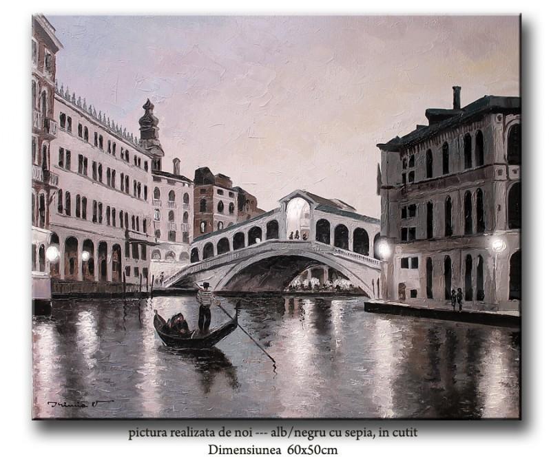 Pictura Venetia - podul Rialto, ulei pe panza in cutit 60x50cm - la comanda. Poza 65727