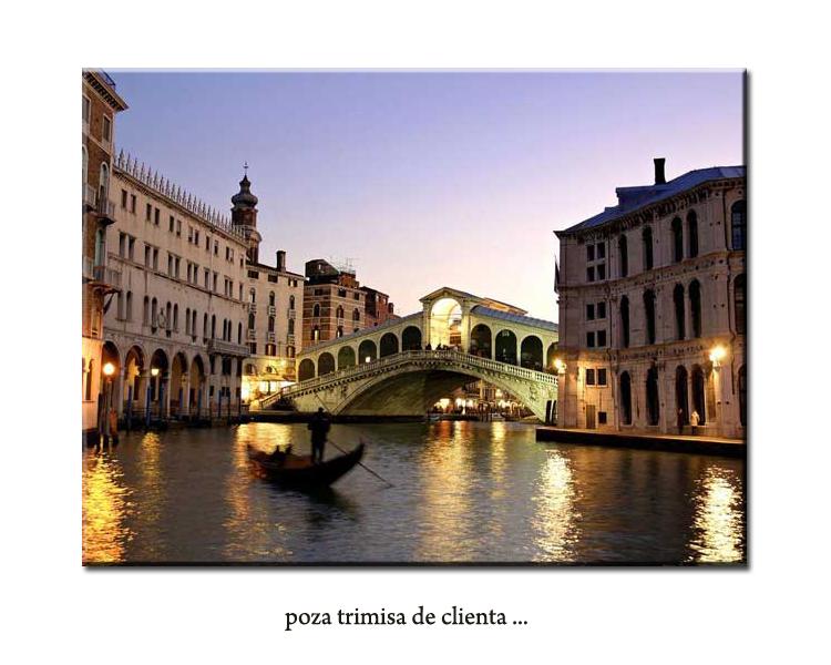 Pictura Venetia - podul Rialto, ulei pe panza in cutit 60x50cm - la comanda. Poza 65728