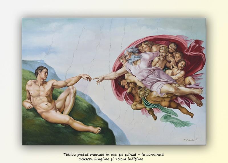 Tablou pictat manual in ulei pe panza,  Crearea lui Adam (100x70cm) - Capela Sixtina - Michelangelo. Poza 68600