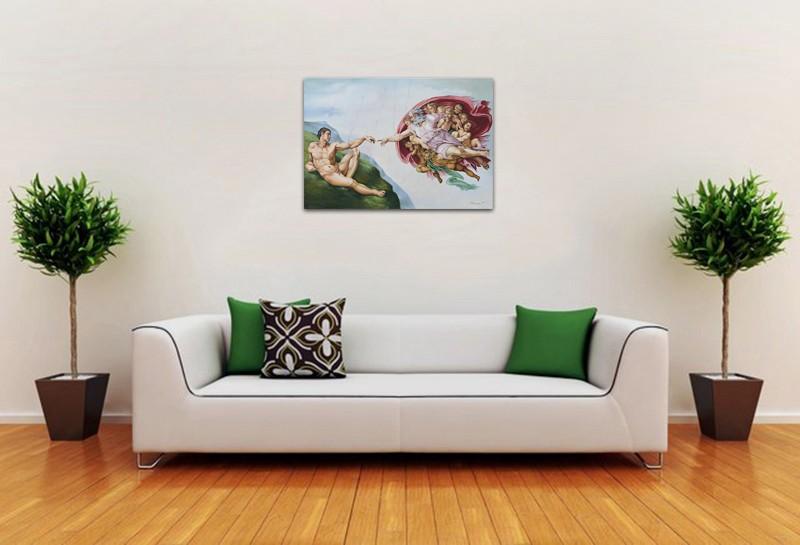 Tablou pictat manual in ulei pe panza,  Crearea lui Adam (100x70cm) - Capela Sixtina - Michelangelo. Poza 68601