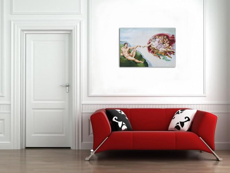 Tablou pictat manual in ulei pe panza,  Crearea lui Adam (100x70cm) - Capela Sixtina - Michelangelo. Poza 68606