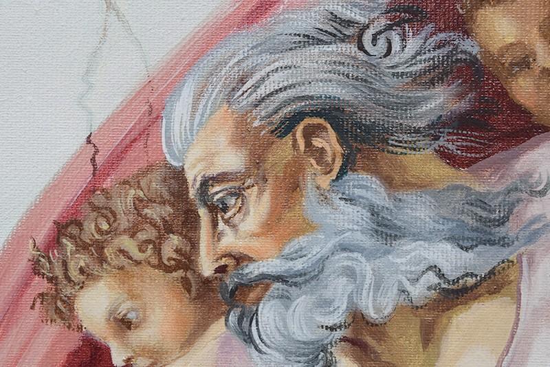 Tablou pictat manual in ulei pe panza,  Crearea lui Adam (100x70cm) - Capela Sixtina - Michelangelo. Poza 68608