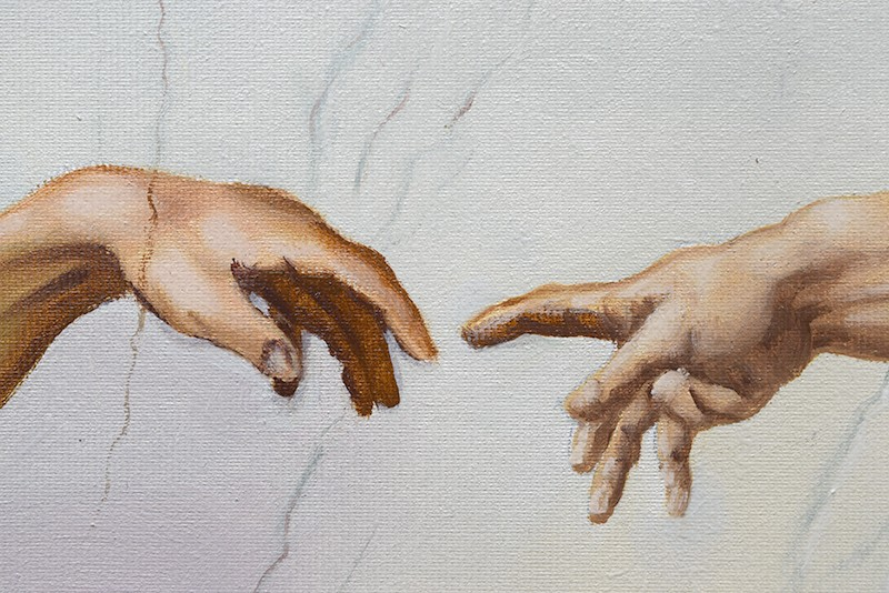Tablou pictat manual in ulei pe panza,  Crearea lui Adam (100x70cm) - Capela Sixtina - Michelangelo. Poza 68609