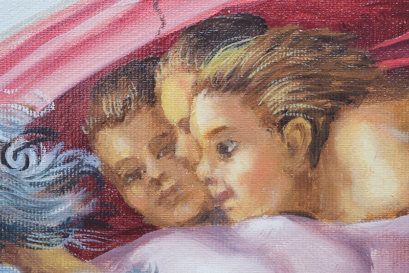 Tablou pictat manual in ulei pe panza,  Crearea lui Adam (100x70cm) - Capela Sixtina - Michelangelo. Poza 68610