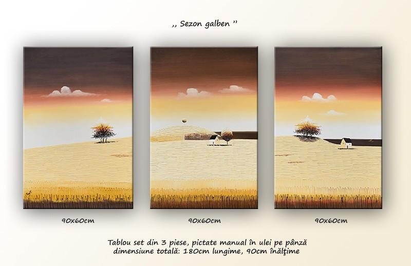 Tablouri living, dormitor - Sezon galben - tablou triptic 180x90cm. Poza 69117