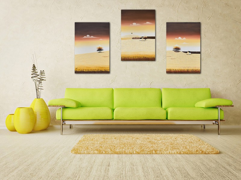 Tablouri living, dormitor - Sezon galben - tablou triptic 180x90cm. Poza 69122