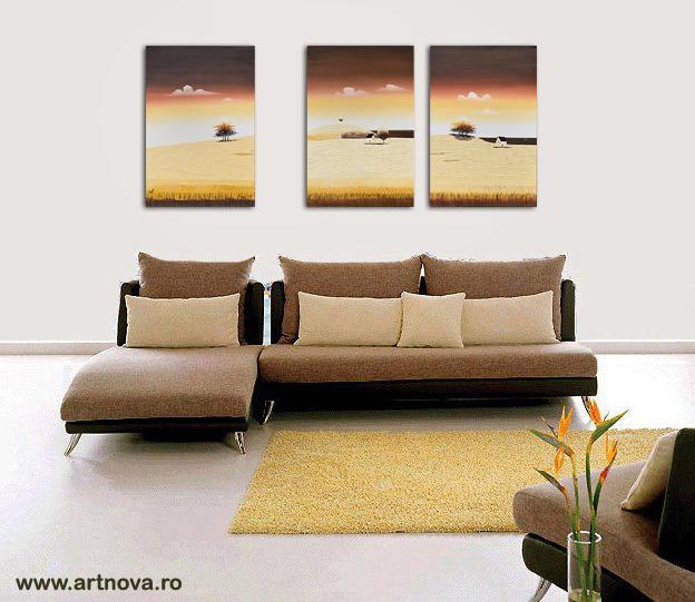 Tablouri living, dormitor - Sezon galben - tablou triptic 180x90cm. Poza 69124