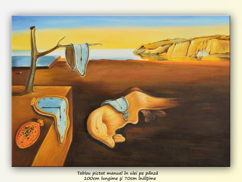 The Persistence of Memory - repro Salvador Dali, pictura ulei pe panza de in 100x70cm, Magistral!. Poza 80861