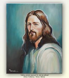 poza Isus - pictura portret ulei pe panza 50x40cm, Magnific!