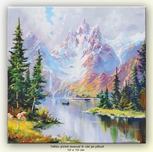 poza Peisaj montan - pictura ulei pe panza 70x70cm, Magnific!