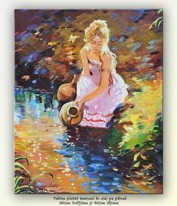 poza La pârâu (2) - pictura ulei pe panza 50x40cm, Superb@