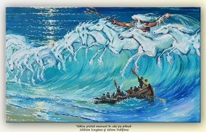 poza Caii lui Neptun (2) - pictura ulei pe panza de in 100x60cm, Magnific!
