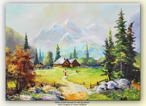 poza Peisaj montan (4) - tablou ulei pe panza 70x50cm, Superb!