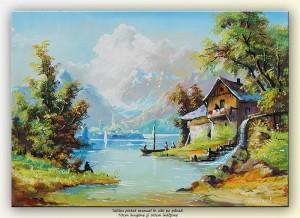 poza Peisaj montan cu pescari - tablou ulei pe panza 70x50cm, Superb!
