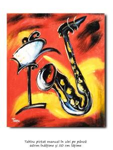 poza Tablou modern - Saxofon (1) - ulei pe panza 60x50cm