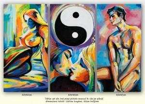 poza Yin si Yang (3) - tablou inspirational 3 piese ulei pe panza 120x80cm, Superb!